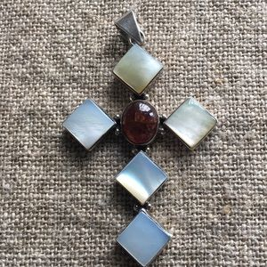 Jewelry - Sterling silver and mother of pearl cross pendant